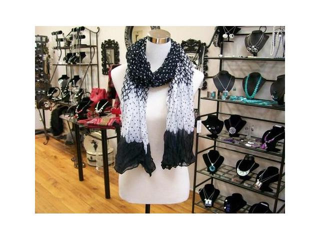 Fashion jewellery and scarves in-store.