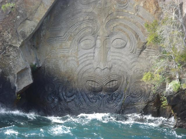 The Maori Carving in the rock