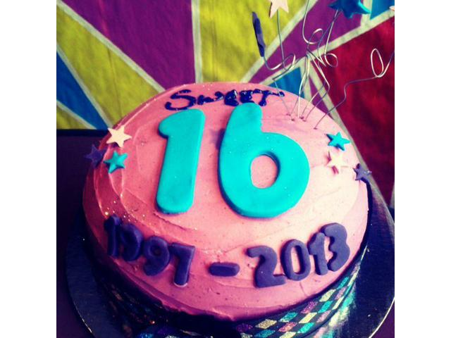 Sweet 16 cake send a chocolate cake made for our work function