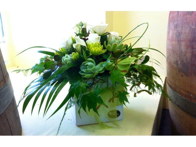elegant greens and white in a ceramic pot