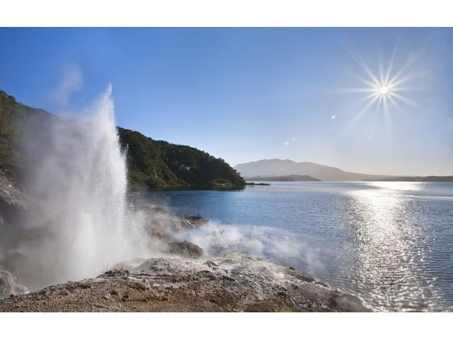 Geyser at Pink Bay, Lake Rotomahana in Waimangu Volcanic Valley