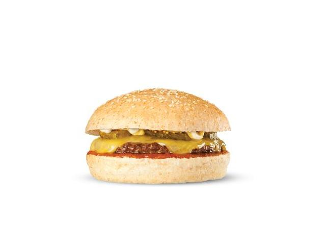 Hamburgini With Cheese - 100% pure NZ grass fed beef, melted cheddar, bread & butter pickles, BF natural tomato sauce and aioli on a mini bun