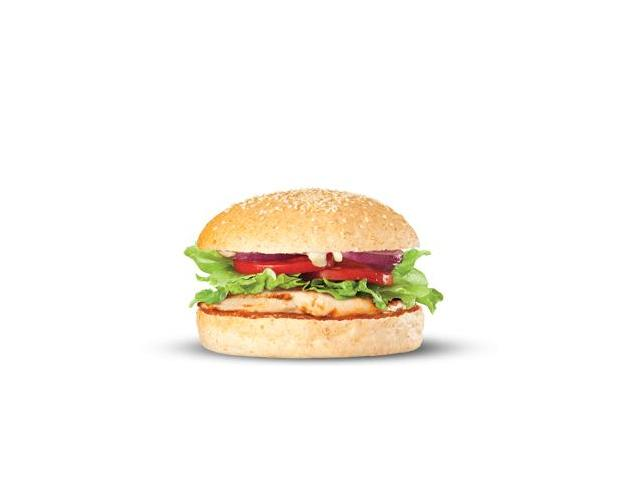 Basic Chick - Char-grilled chicken tenderloins, salad, relish and aioli on a smaller bun