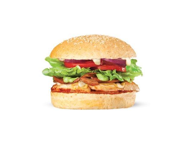 Burnout - char-grilled chicken breast, bacon, avocado, stilton cheese sauce, dijon mustard, salad, relish and aioli