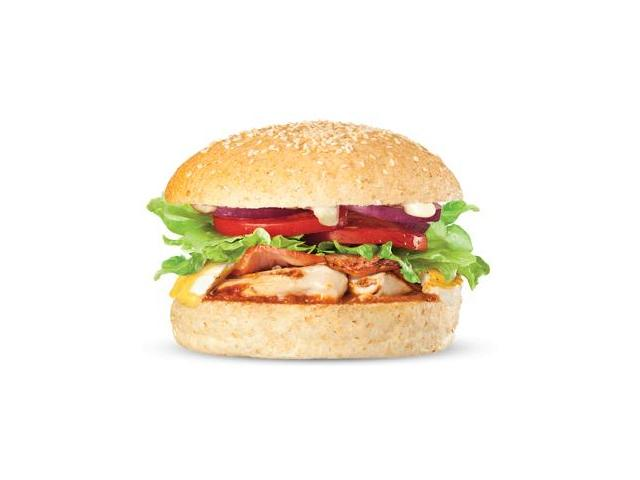 Bacon Backfire - char-grilled chicken breast, bacon, melted brie, salad, relish and aioli