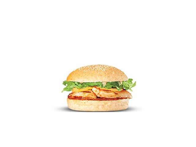 Chook Royale - char-grilled chicken, grilled pineapple, iceburg lettuce, BF natural tomato sauce and aioli on a mini bun