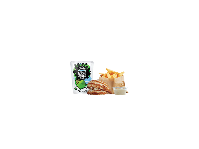 Kids Natural Nuggets Meal - 2 char-grilled chicken tenderloins cut into bite size pieces, Spud Fries with a dipping sauce of your choice & a small Charlie's juie