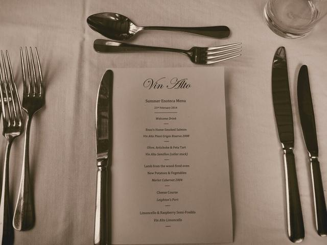 Menu when we dined - changes each time