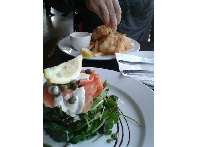 Fish & chips and the salmon kumara stack. Washed down with some beautiful Belgium beer. Fantastic!