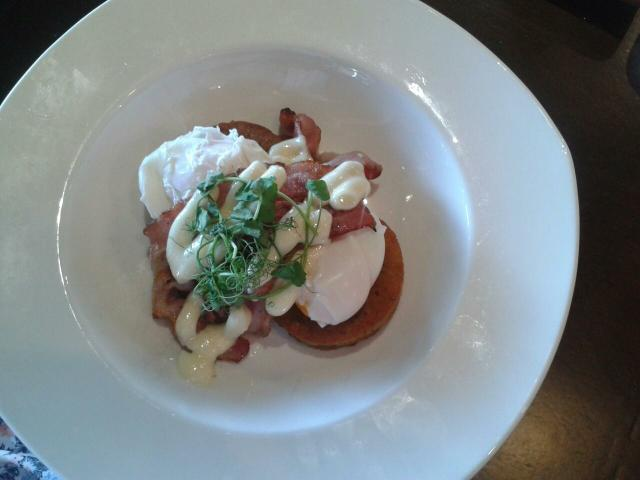 Potato stack-ish dish with poached eggs.  Good value at $11 (special of the day)