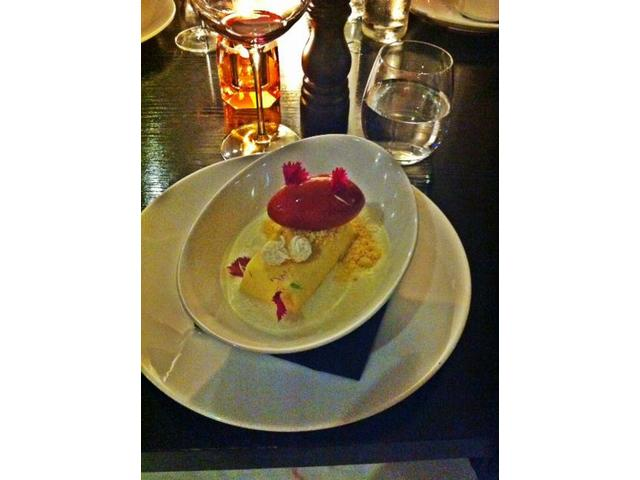 Lime cheesecake with wild berry sorbet