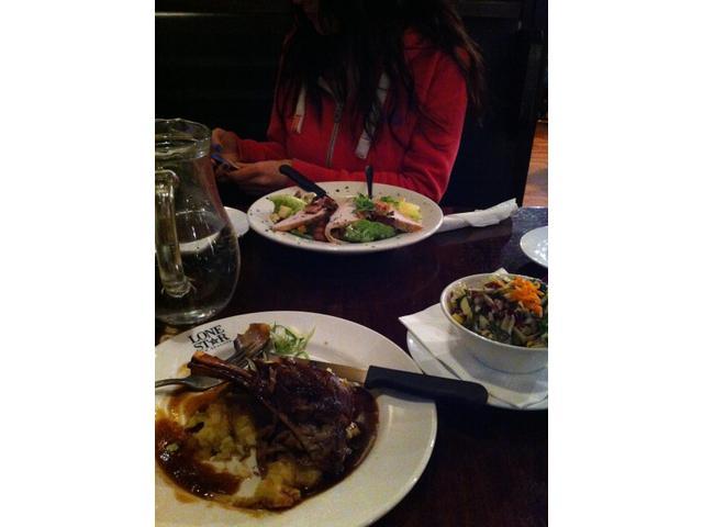 Delicious lamb shanks and salads at Lonestar Christchurch