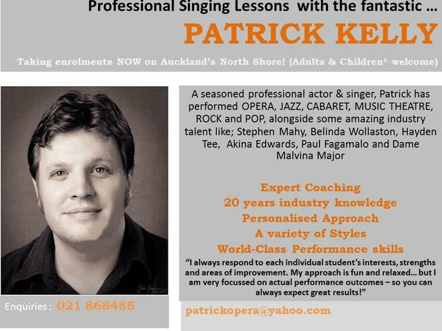 Singing Lessons with Patrick Kelly - Musical Theatre and Audition specialist