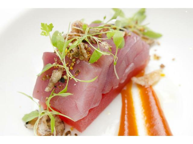 Tuna and compressed watermelon salad, coriander, shallots, chilli