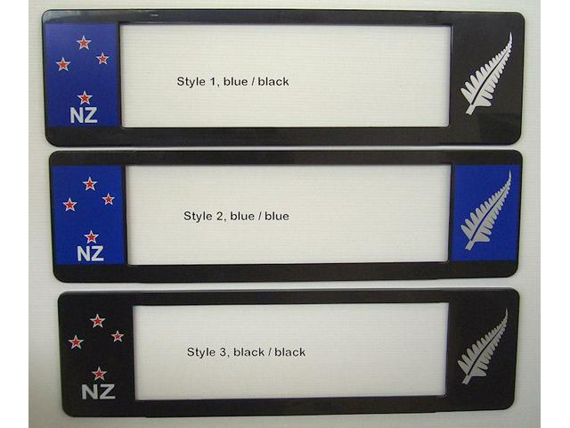 European style licence plate frames