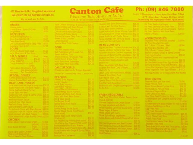 Canton Cafe New Menu