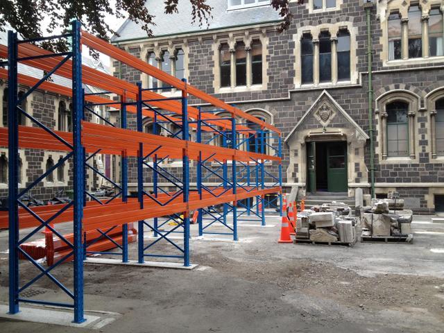 Pallet racking at the Art Centre, Christchurch
