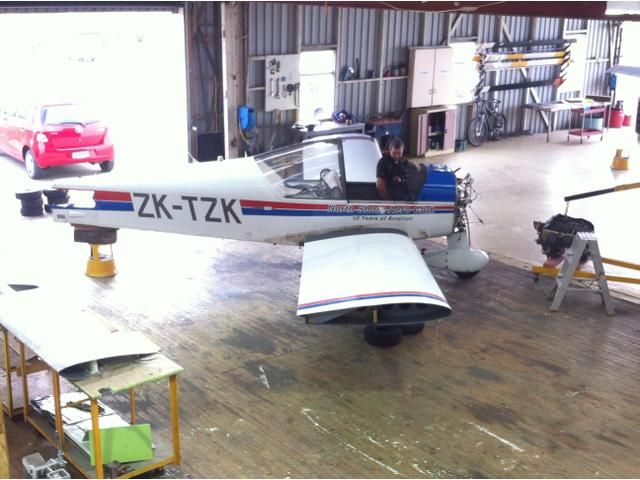Structural repair being carried out on one of North Shore Aero Club's Robin aircraft..