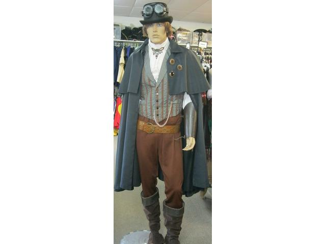 Original styled Steampunk male costume - just one of many 'one of a kind' costumes that our creative ,experienced staff put together.