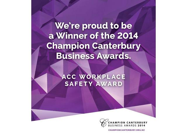 Winners of the Champion Canterbury ACC Workplace Safety Award