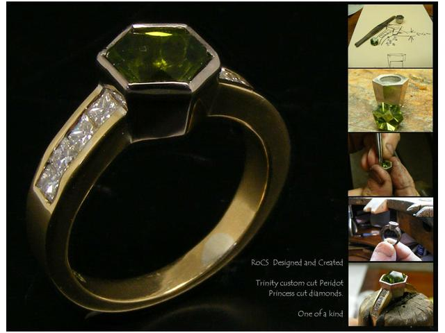 Custom cut peridot and diamonds