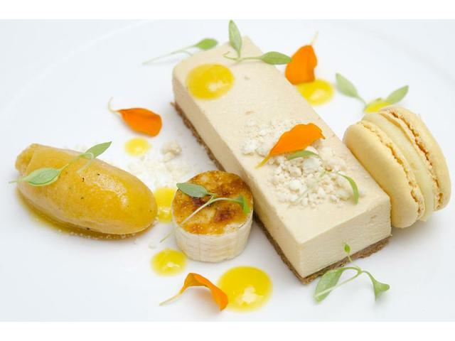 Caramelized white chocolate delice, banana, passionfruit, mango