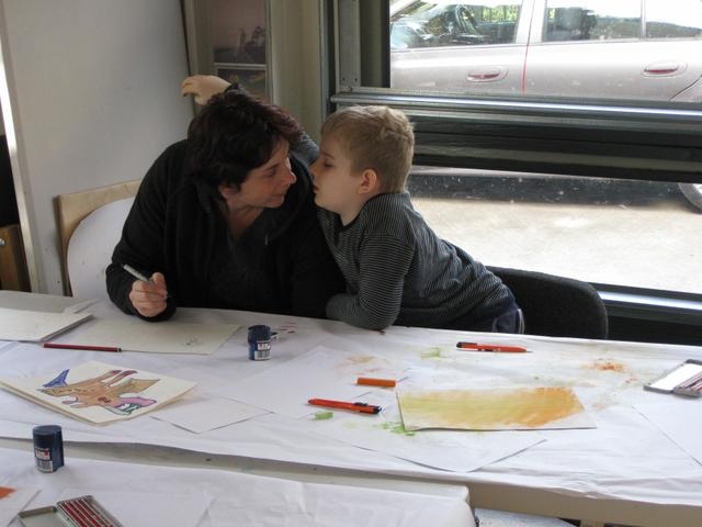 Mums are welcome to work along side their children in class