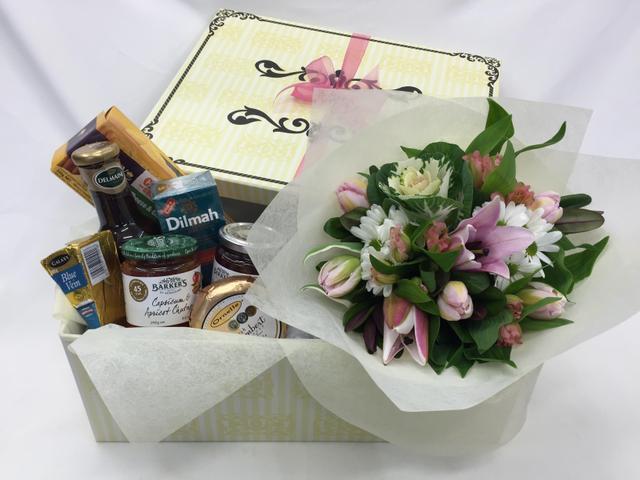 Gourmet (posy & gourmet items in box $139 )